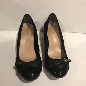 Cole Haan patent leather toe wedge dress shoes